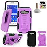Customerfirst - Defender Shell Holster Combo Case For Samsung Galaxy Ace 4 Lite G313ML, Protective Skin Case Cover With Advanced Armor Impact Hybrid Soft Silicone Cover Hard Snap On Plastic Case Kick Stand with Belt Clip Holster - Includes Plunger Stand (ARMOR PURPLE BLACK)