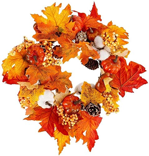 Halloween Fall Wreath, 45cm Autumn Artificial Front Door Wreath, Harvest Wreath Maple Leaves Pumpkins and Colorful Berries for Christmas Thanksgiving Day I