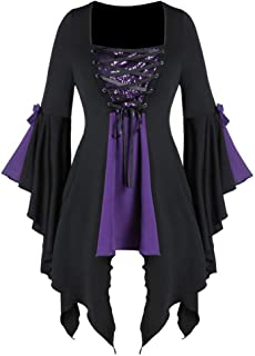 Women Halloween Gothic Costume Plus Size Long Sleeve Tops Sequined Blouse Lace Up Tunic Tee Ball Gowns Dress