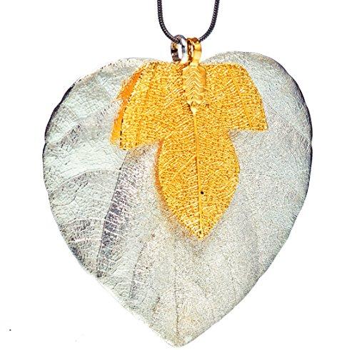 Ana Morales señorías 3er-Set Big Leaf plateado + Hinojos madera dorado de 24 quilates + árbol cadena de acero inoxidable 45 cm longitud de la hoja ca 70-80 millimeter