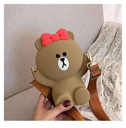 Youpin Damen Tasche Cartoon Bär Tasche Schulter diagonale Tasche Süße Kette Tasche Cartoon Münze Geldbörse Handy Kleine Tasche (Farbe: 3, Höhe: 11 cm 30 cm)