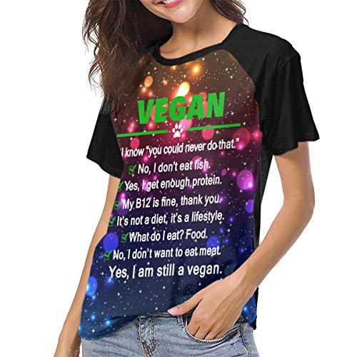 Actuallyhome Camiseta de Manga Corta de Uniforme de béisbol para Mujer  Vegano: sigo Siendo Vegano Camiseta Estampada Casual para Adultos Ropa Deportiva Camisetas Jerseys