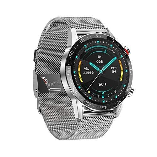 YNLRY Reloj inteligente con recordatorio de llamadas y recordatorio de llamadas de larga duración de la batería, resistente al agua, color plateado