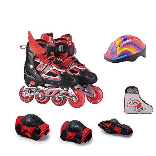 Mhwlai Skate-Kinderanzug, Bequeme und atmungsaktive Flash-Rollschuhe, Jungen und Mädchen, verstellbare Rollschuhe, Inlineskating,Redeightflashsuit,S