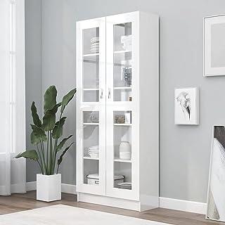 vidaXL Armoire à Vitrine Bibliothèque Armoire à Livres Meuble de Rangement Salon Bureau Maison Intérieur Blanc Brillant 8...