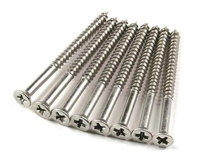 """Satin Nickel Wood Screws #9 X 2 1/2"""" for Residential Door Hinges - 24 Pack"""