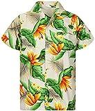 Funky Camisa Hawaiana, Manga Corta, Strelitzie, Beige, XS