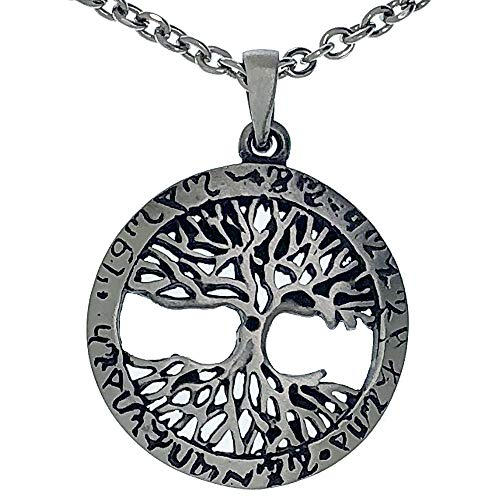 Yggdrasil Celtic Asatru Tree of life Pewter Pendant Necklace Charm Amulet Medallion (Stainless steel chain)