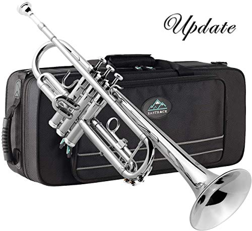 professional EastRock Trumpet Brass Standard Bb Set, Beginners, Students with Cases, Gloves, 7C …