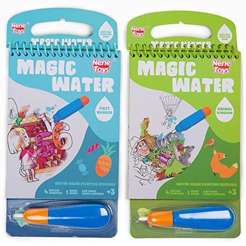 Nene Toys - Magisches Wasser-Malbuch - 2er-Set Wiederverwendbare Malbücher für Kinder 3, 4, 5, 6, 7 Jahre - griffige Wasser-Malstifte - Pädagogisches Geschenk für Jungen Mädchen [Tiere & Zahlen]