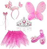 Liberty Imports Little Fairy Princess Dress Up Role Play Costume Set for Girls (6pcs) (Pink)