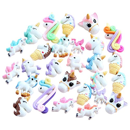 BraveWind 10 PCS Mixed Resin Unicorn Flatback Cabochon Slime Charms for DIY Phone Scrapbooking Decor