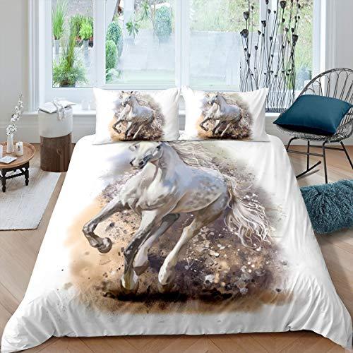 Loussiesd Juego de cama de caballo 3D blanco con diseño de animales salvajes para niños y niñas