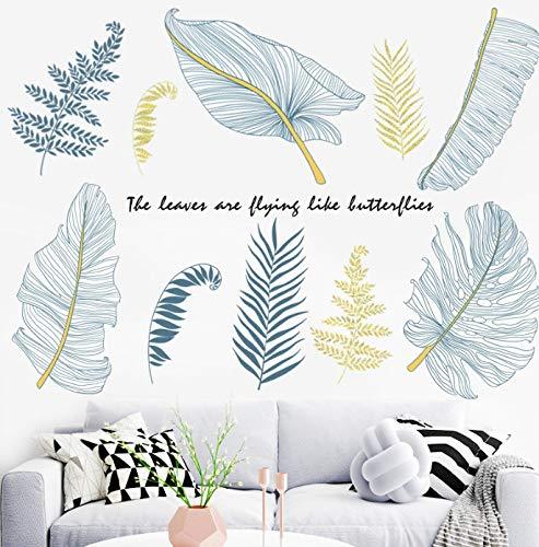 Pegatinas de pared de hojas tropicales para dormitorio, sala de estar, sala de niños, sofá, TV, fondo, calcomanías de pared extraíbles, murales artísticos, decoración del hogar