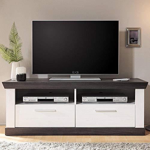 TV Lowboard im Landhausstil in Pinie weiß & Wenge Nb.