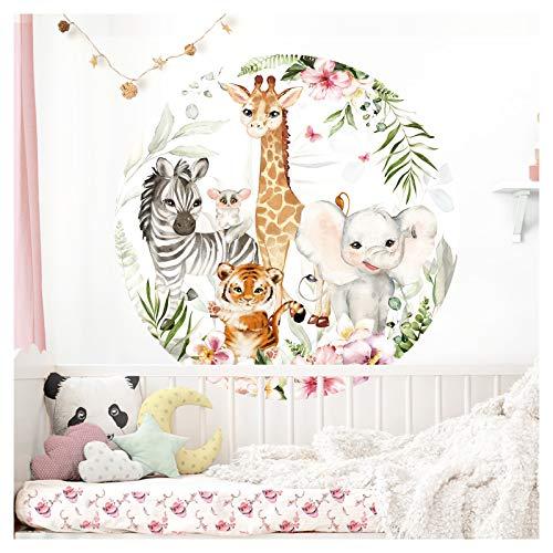 Little Deco Wandtattoo Kinderzimmer Wandbild Wandsticker für Kinder Tiere Giraffe Elefant Wanddeko Spielzimmer Wandaufkleber Babyzimmer Tapete 60 cm rund DL560