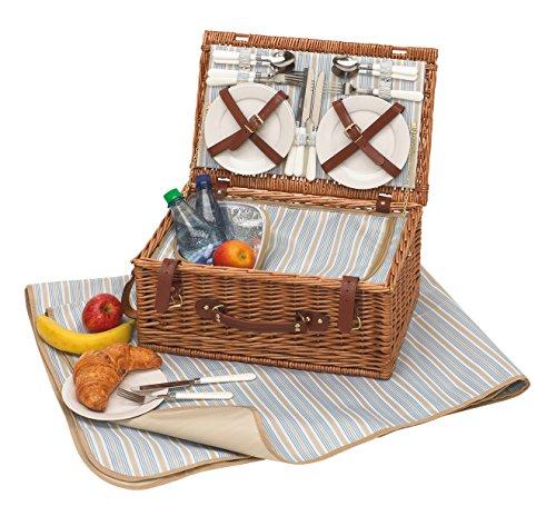 Unbekannt Picknickkorb Kaufen Picknickkorb 4 Personen Picknick Set mit Picknickgeschirr Picknickkoffer 46 x 30 x 21 cm