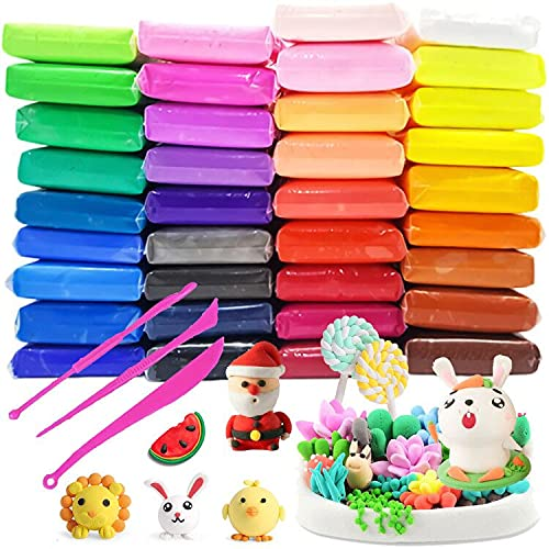 36PCS Molding Air Dry Clay:Ultra Light DIY Modeling Clay   Artist Studio Plasticine Toy Safe and Non-Toxic Modeling Clay