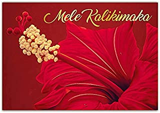 Red Hibiscus Supreme Boxed Hawaiian Christmas Cards - 12 cards & 13 envelopes