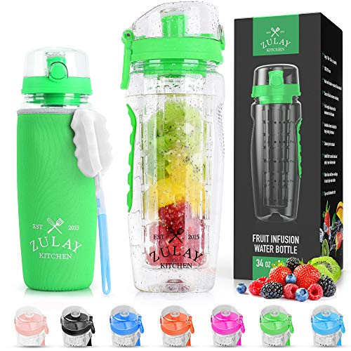 Zulay (34oz Capacity) Fruit Infuser Water Bottle With Sleeve - BPA Free Anti-Slip Grip & Flip Top Lid Infused Water Bottles for Women & Men - Water Infusion Bottle With Cleaning Brush - Energy Green