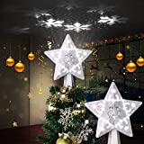 Christmas Tree Topper Lighted with White Snowflake Projector, LED Rotating Snowflake, 3D Glitter Lighted Sliver Snow Tree Topper for Christmas Tree Decorations (Silver)