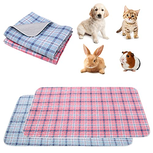 """SCENEREAL Guinea Pig Bedding 2 Packs, Guinea Pig Cage Liners 47""""x24"""", Washable Pee Pads Waterproof & Non-Slip, Reusable Strong Water Absorption Mat for Small Animals Puppies Rabbits Cats"""