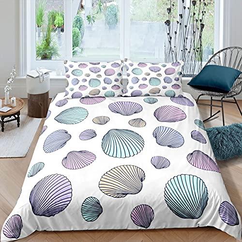 Loussiesd Colorido juego de ropa de cama para niñas niños océano marino ropa de cama y lino criaturas del mar funda de edredón colcha simplicidad doble tamaño 3 piezas ropa de cama
