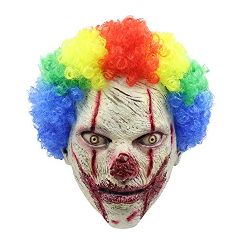 MZBoutiques Máscara de Halloween Látex Sangriento, Momo, Sangrado, Horror Scary Evil Props Halloween Novedad Props Party Costume (Payaso de Pelo Colorido)