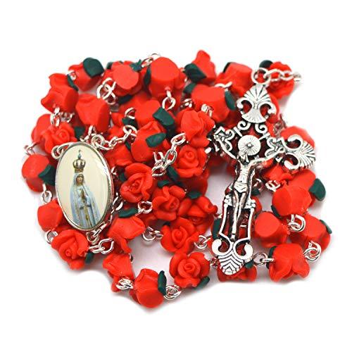 Prettyrosary Rosario Delante a la Virgen de Fátima Rosa roja Rosario de Flores Católico Rojo Rose Jardín. Rosario para Mujer de la Santa Comunión
