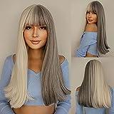 EMMOR Pelucas rectas largas, rubias y grises para mujeres, cabello natural sintético con flequillo de aire, pelucas completas para uso diario y de fiesta