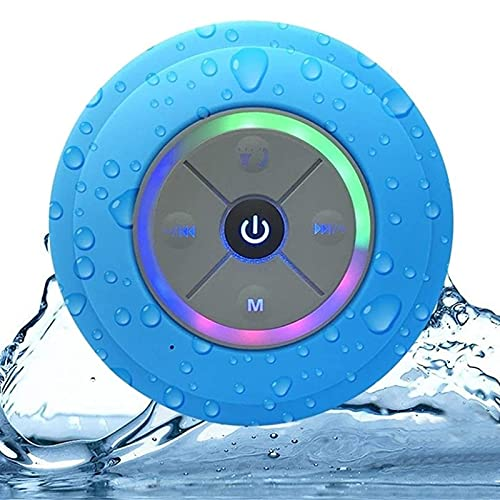 Rainbow LED Bluetooth Shower Speaker With FM Radio and Strong Suction Cup,...