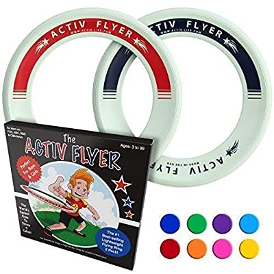 Activ Life Kid's Flying Rings [Glow-in-The-Dark] 2 Pack - Cool Outdoor Toys for Healthy Children to Play Outside with Family & Friends - Fun Birthday Party Favors for Girls & Boys 4 5 6 7 8 9 10 11