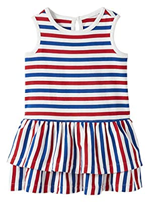 Hanna Andersson Stripe Ruffle Dress Fourth of July Stripe - 80