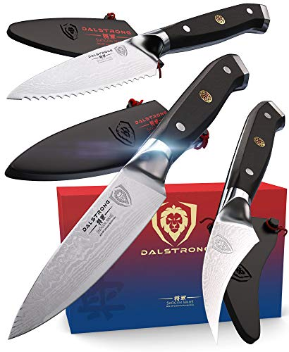 DALSTRONG - Shogun Series 3pc Paring Knife Set - Damascus - Japanese AUS-10V Super Steel - 3.75' Paring - 2.75' Bird's Beak - 3.5' Serrated