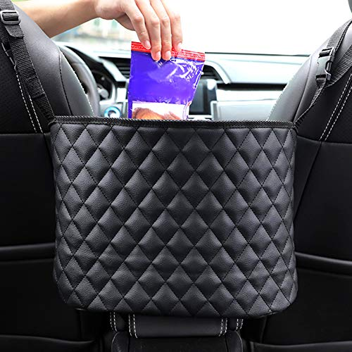 Timstono Car Net Pocket Handbag Holder, Car Storage for Purse & Pocket for Smaller Items,Leather Seat Back Organizer Mesh Large Capacity Bag,Dog Barrier,Driver Storage Netting Pouch with Bag