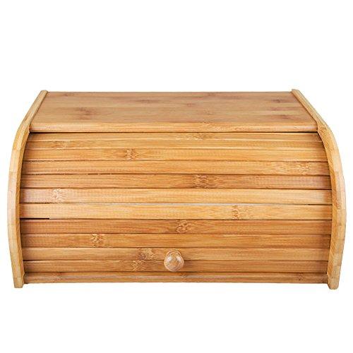 INDRESSME 40,1x 27,4x 17,3cm Pure Bamboo pane scatola vintage Rolltop Bread supporto grande capacità stoccaggio