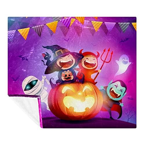 Coperta in pile gigante per bambini, per Halloween, con zucca, morbida, leggera, accogliente, perfetta per letto, divano, divano, viaggi, campeggio, 150 x 199 cm