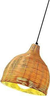 PIXNOR Lámpara Colgante de Araña de Ratán 26Cm para Cocina Asiática Accesorios de Iluminación de Techo Lámpara Colgante Araña de Tejido de Ratán para Bar Café Sala de Estar Color