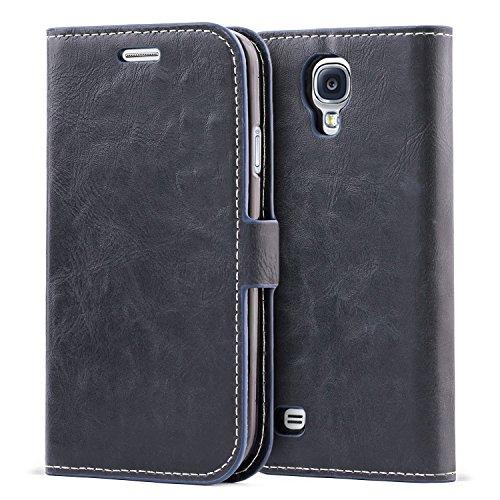 Mulbess Coque pour Samsung Galaxy S4, Housse en Cuir Samsung Galaxy S4 avec Magnetique, Etui Protection pour Samsung Galaxy S4 Case, Marine Bleu