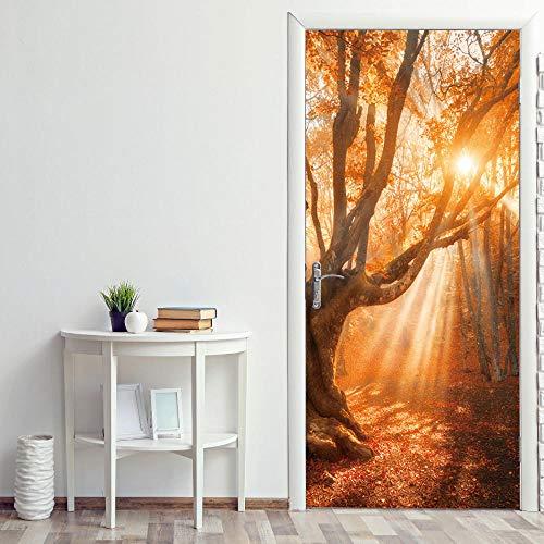 3D Mural para Puerta 77x200cm Autoadhesivo Impermeable Papel Pintado Puerta para Sala de Estar Baño Cocina Extraíble Vinilo Adhesivo de Pared,Decoración del Hogar - Bosque Soleado