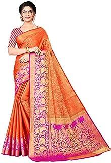 Neerav Exports Banarasi Kanjivaram Soft Silk With Rich Pallu Traditional Jacquard Saree (Orange)