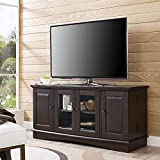 Walker Edison Furniture Company Traditional Wood Universal Stand with Storage Cabinets for TV's up to 65' Living Room Entertainment Center, 52 Inch, Espresso Brown