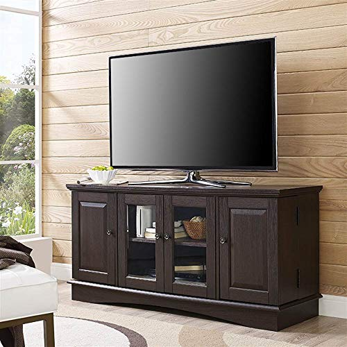 Walker Edison Traditional Wood Universal Stand with Storage Cabinets for TV
