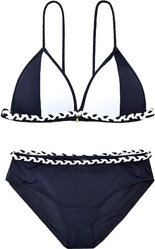 FENGMING-Maillots de bain Femme Maillot de Bain Bikini Triangle rembourré (Couleur   noir+blanc, Taille   M)