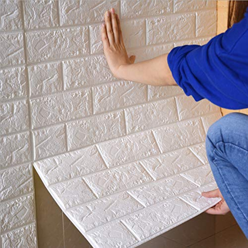 MorNon Brick White Wall Stickers 10PCS Wallpaper 3D White Brick Effect 70 * 77cm Self Adhesive Waterproof DIY Modern Wall Adornment for Kids Room Living Room Bedroom