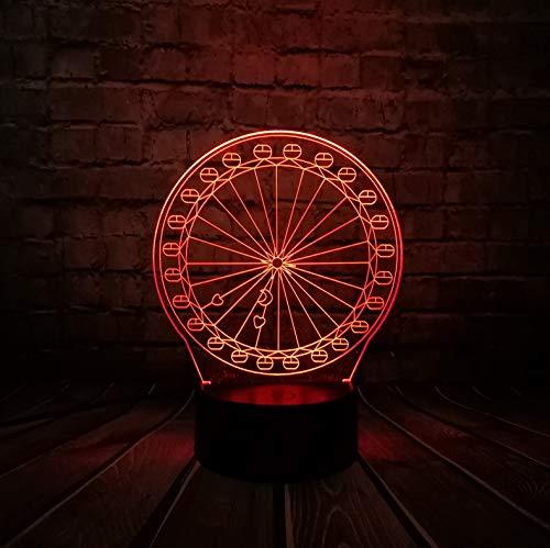 Veilleuse 3D LED New Innovative Gadget Grande Roue 3D Led Usb Lampe Optique Source Acrylique Économiseur D'Énergie De Bureau Romantique Fille Cadeau Décoration