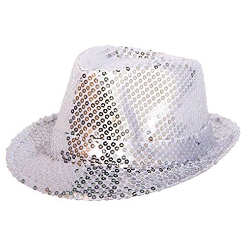 Folat 22533 Tribly Party Hut Deluxe mit Pailletten, Unisex-Erwachsene, Silber, Einheitsgröße