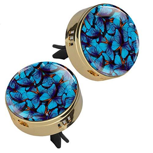 Alas de una mariposa Morpho difusor de aceites esenciales para aromaterapia, medallón con cierre magnético con clip de ventilación, 4 almohadillas de repuesto (doradas)