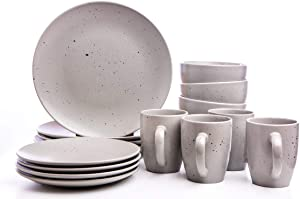16-Piece Dinnerware Set, Kitchen Plates, Bowls, Mugs, Service for 4