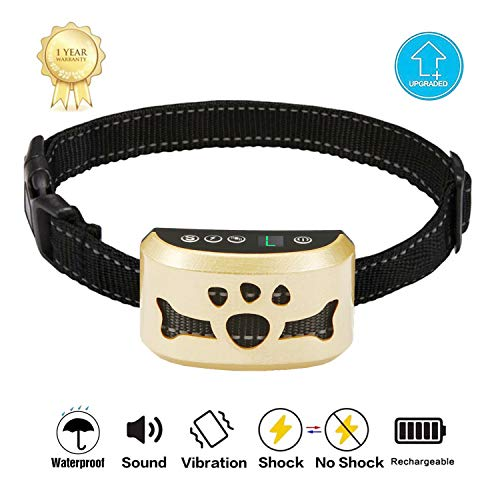 TOTIE Dog Bark Collar -7 Adjustable Sensitivity and Intensity Levels-Dual Anti-Barking Modes Rechargeable/Rainproof/Reflective